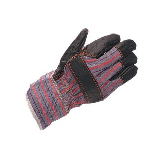 Mens Block Pattern Furniture 'Nappa' Hide Rigger Gloves