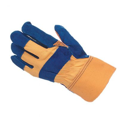 Blue & Yellow Super Canadian Leather / Canvas Rigger Gloves