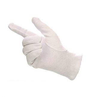 Bleached White Mens Cotton Gloves